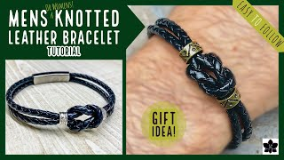 Quick And Easy MENS (or Ladies) Handmade Beaded Leather Knot BRACELET Idea #1 ✨ Great Gift Idea! ✨