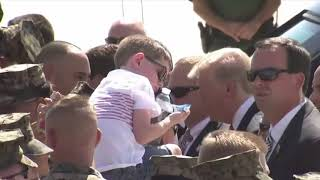 KID MEETS HIS HERO TRUMP: President Donald Trump Greets US Marines in Yuma, Arizona Before Phoenix