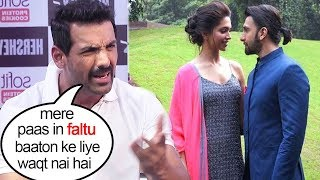 John Abraham Insults reporter asking about Ranveer Singh Deepika Padukone MARRIAGE In italy