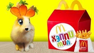 McDonalds и Кролик Баффи и Happy Meal ! ОБЫЧНАЯ ЕДА ПРОТИВ ОВОЩНОЙ ! ОБЗОР ХЕПИ МИЛЛА