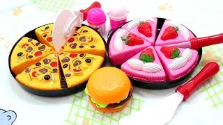 Pizza Pie Apple Cake Bugger Toy Cut and Cooking  - Surprise Toys Game