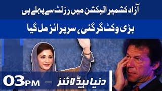 AJK Election mai Bari Wicket Gir Gai   Dunya News Headlines 3 PM   22 July 2021