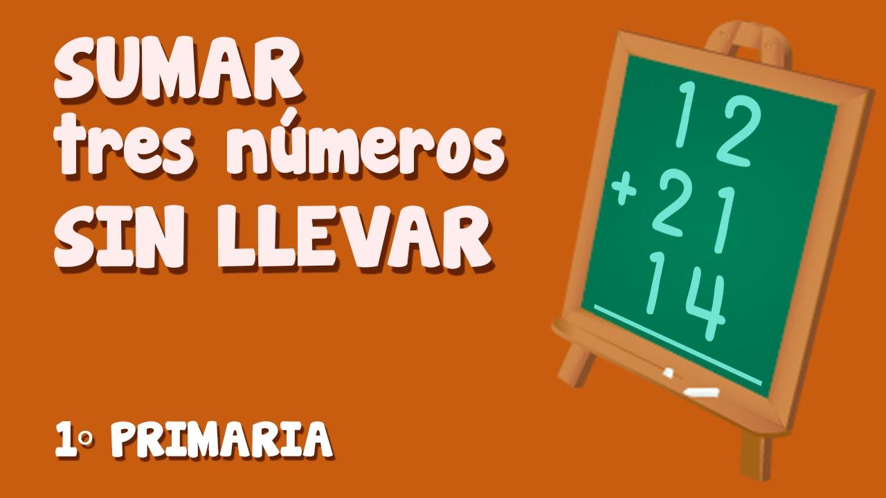 Suma vertical, sin  llevar,  de tres números para niños de Primaria (1/3)