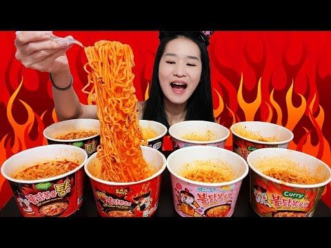 SUPER SPICY FIRE NOODLE FEAST!! Samyang Cup Noodles Carbonara & Curry Ramen – Mukbang w Asmr Eating