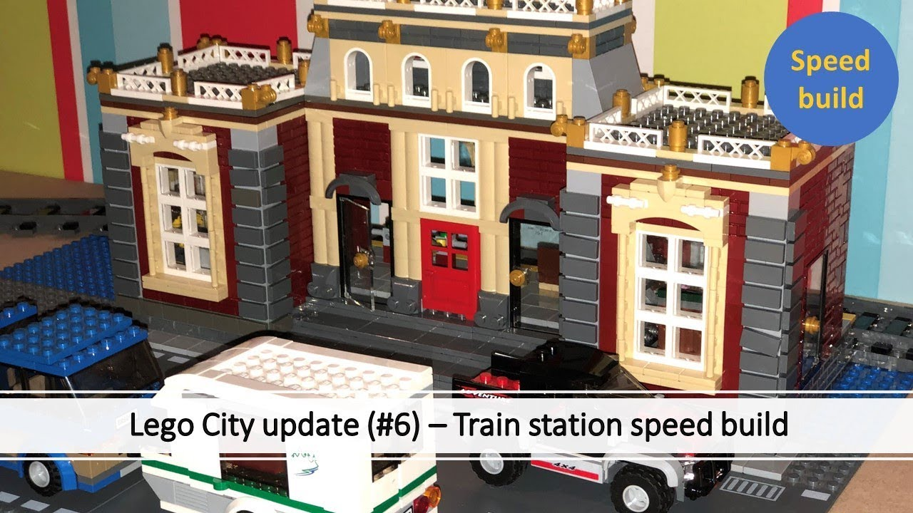 Lego Train station MOC speed build - 1000+ pieces