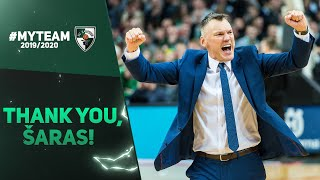 A green-and-white thank you to Sarunas Jasikevicius