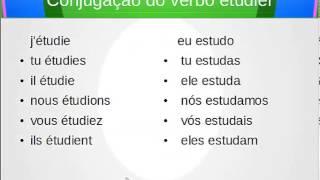 Conjugação no presente do verbo marcher,visiter e étudier - caminhar,visitar e estudar em Francês