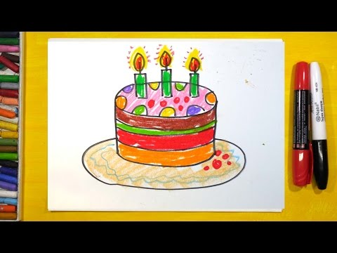 Как нарисовать Торт, Урок рисования для детей от 3 лет | Раскраска для детей
