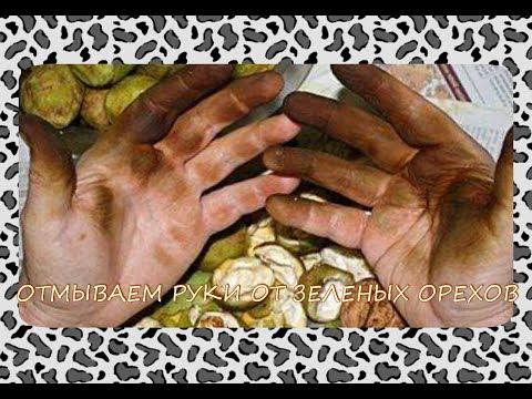 Отмываем руки от зеленых грецких орехов.