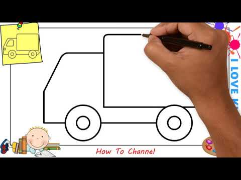 How to draw a truck EASY step by step for kids, beginners