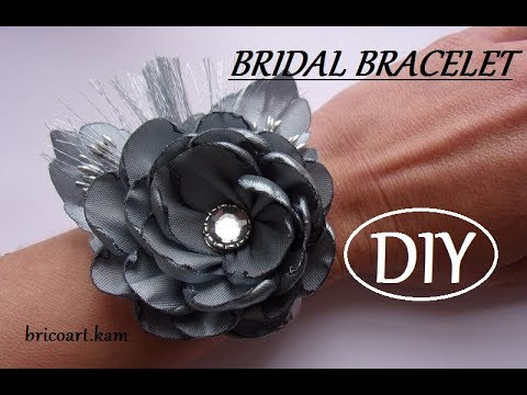 DIY/Tutoriel facile/Bracelet de mariage en satin/Bracelet kanzashi:bricoart.kam