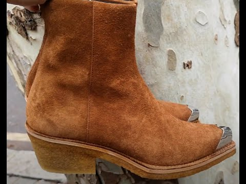 Calvin Klein 205W39NYC & Raf Simons metal tip suede boots 42