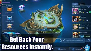 How To Get Back Your Resources in Mobile Legends Instantly After Reinstalled
