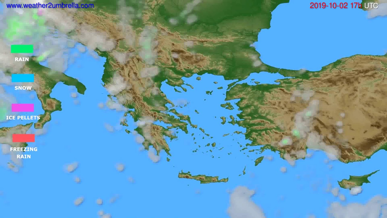 Precipitation forecast Greece // modelrun: 00h UTC 2019-10-01