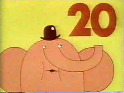 Classic Sesame Street animation - elephant counts to 20