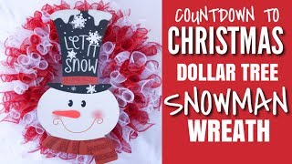 CHRISTMAS DOLLAR TREE CRAFTS | DOLLAR TREE DIY DECO MESH SNOWMAN WREATH