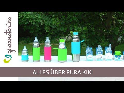 Vorschau: Edelstahl Flasche mit Trinkhalm ab 12 M - open end mix grün