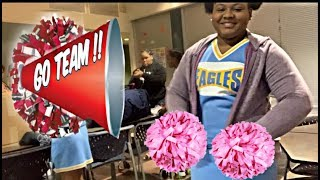 DAUGHTER'S FIRST CHEERLEADING GAME/VLOGMAS DAY 9