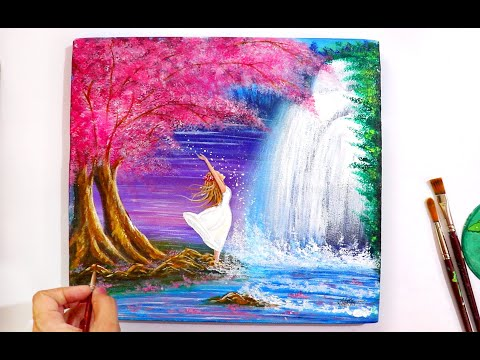 A Girl near a Waterfall Painting / Step by Step tutorial for beginners using Acrylic Colours