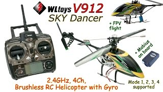 WLtoys V912 SKY Dancer 2.4GHz, 4Ch, Brushless RC Helicopter with Gyro (RTF) +FPV flight