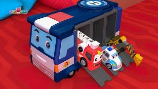 Learn Colors City Vehicles With Police Car Carrier Play - For Kids Songs Nursery Rhymes