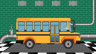 Мультик для детей.  Автомойка - Автобус. Едем в школу - Развивающие мультики про машинки