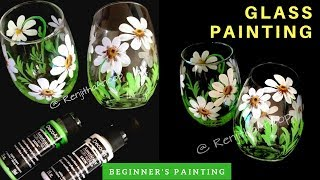 Flower Stemmed Glass Project -  Painting On Glass - Glass Painting Using Acrylic