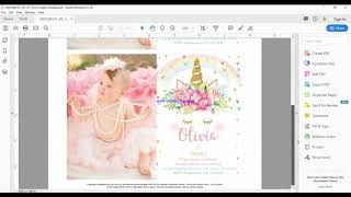 How To Add Picture And Edit Text To Editable PDF Invitation Template