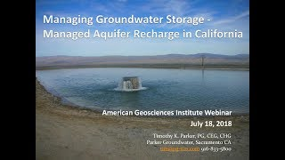 Managed Aquifer Recharge in California