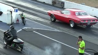 Motorbike vs Muscle Car.Unbelievable acceleration of motorcycle,bracket racing/drag race