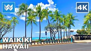 [4K] Exploring Waikiki Hawaii USA - 2021 Walking Tour & Travel Guide 🎧 Binaural Sound