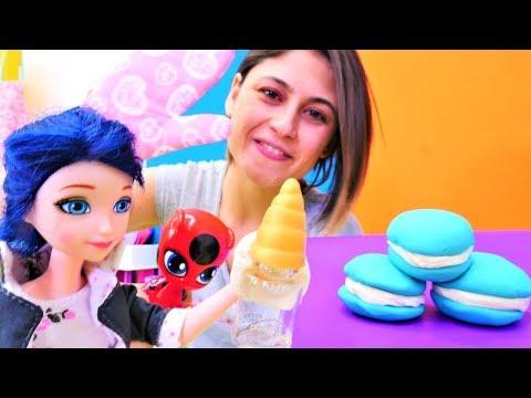 Marinette ve Tikki için iksirli mavi makaron. Ayşe ile eğlenceli çocuk oyunu