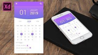 How To Create A  Calendar UI Design Using Adobe XD | Adobe XD Tutorial | BUFF Design