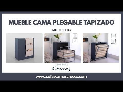 Mueble cama plegable tapizado con ruedas y ocupa poco espacio