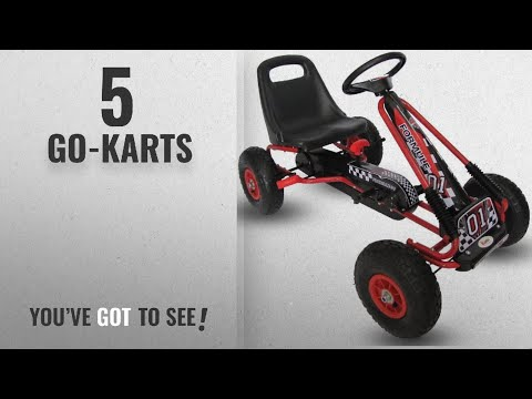 Top 10 Go-Karts [2018]: Kiddo Racer Design Red Kids Childrens Pedal Go-Kart Ride-On Car, Adjustable
