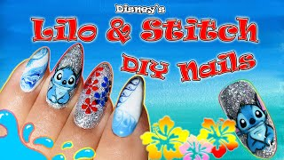 Disney Stitch Nail Art Design | Lilo And Stitch Nails At Home! #disney #nails