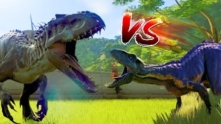 Indominus Rex Vs Indoraptor Vs Giganotosaurus Fight - Jurassic World Evolution Dinosaurs Battle