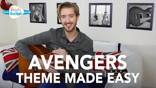 Avengers Theme Song Made VERY EASY Guitar Cover + Tutorial