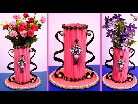 Making paper flower vase - how to make a flower vase at home - diy paper plastic bottle vase & Making paper flower vase - how to make a flower vase at home - diy ...