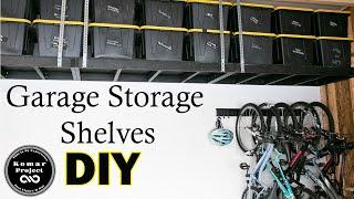 How To Make Suspended Garage Storage Shelves For Under $200 || DIY Storage Project