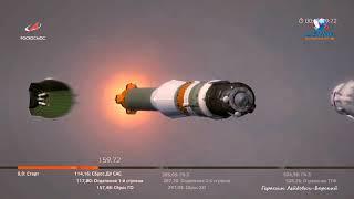 Аварийный старт Союза на Байконуре и полный радиообмен командира корабля с ЦУП Быстро мы прилетели!