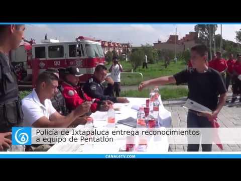 Policía de Ixtapaluca entregan reconocimientos en Parque Chopos a miembros de pentatlón