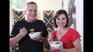 Youtube thumbnail for Flambeed Prawns in Spicy Rum Sauce & Kiwi Burgers by Simon Gault