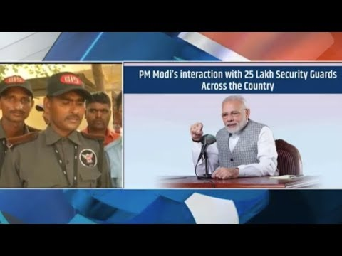 PM Narendra Modi interacts with Chowkidars from across the country