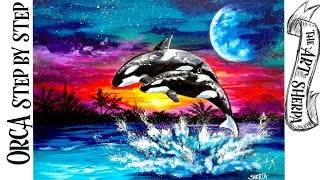 Fantasy Orcas At Sunset Acrylic Painting Tutorial Step By Step 🐳🎨 | TheArtSherpa