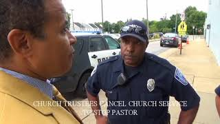 CHURCH TRUSTEES CANCEL CHURCH SERVICE TO STOP PASTOR