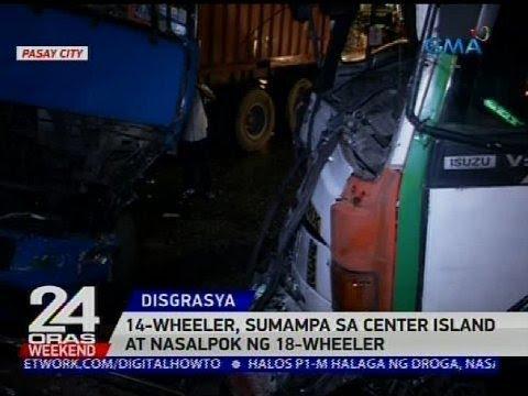 14-wheeler, sumampa sa center island at nasalpok ng 18-wheeler