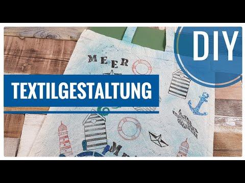 DIY MARITIME Stofftasche / Baumwolltasche selber mit Textilfarbe gestalten  [Tutorial | deutsch]