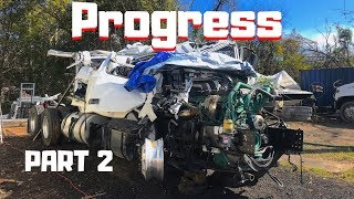 CRAZY Totaled WRECKED Rollover REBUILD Semi Purchased At Copart | 2019 Volvo Semi Truck | Part 2 |