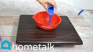 DIY Paint Pour Makeover - Pour Paint Through A Pasta Strainer For This Living Room Idea!   Hometalk